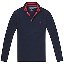 Buy Tommy Hilfiger Atlantic Zip Mock Neck Jumper, Navy Blazer Online at johnlewis.com