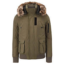 Buy Eleven Paris Mike Hood Faux Fur Bomber Jacket, Khaki Online at johnlewis.com