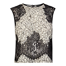 Buy Karen Millen Fine Lace Top, Black/White Online at johnlewis.com