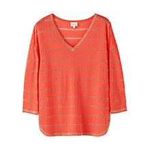 Buy East Linen Metallic Stripe Jumper, Mandarin Online at johnlewis.com