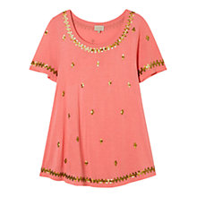 Buy East Sequin Jersey T-Shirt, Flamingo Online at johnlewis.com
