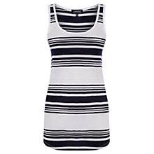 Buy Warehouse Engineered Stripe Vest, White/Navy Online at johnlewis.com