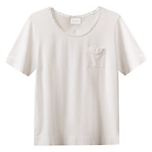 Buy East Crochet Trim T Shirt, White Online at johnlewis.com
