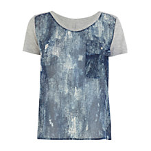 Buy Karen Millen Dark Wash Print T-Shirt, Blue Multi Online at johnlewis.com