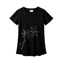 Buy East Palm Tree Beaded T-shirt, Black Online at johnlewis.com