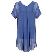 Buy Phase Eight Silk Elinor Dip Hem Blouse, China Blue Online at johnlewis.com