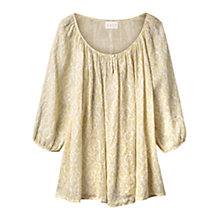 Buy East Linen Krishna Gauze Blouse, Lemon Online at johnlewis.com