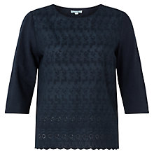 Buy Jigsaw Embroidered Elbow Sleeve Top Online at johnlewis.com