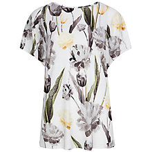 Buy Ted Baker Rashele Paper Petals Jersey T-Shirt, White Online at johnlewis.com