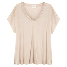 Buy East Linen Plait Detail Top, Stone Online at johnlewis.com