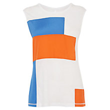Buy Karen Millen Colour Block Jersey Vest Top, Ivory / Multi Online at johnlewis.com