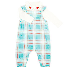 Buy John Lewis Baby's Check Cord Dungarees And Body, Blue/White Online at johnlewis.com