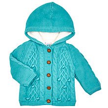 Buy John Lewis Baby's Hooded Cable Cardigan, Teal Online at johnlewis.com