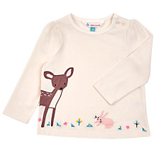 Buy John Lewis Baby's Deer Long Sleeve T-Shirt, Cream Online at johnlewis.com