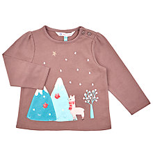 Buy John Lewis Baby's Long Sleeve Llama T-Shirt, Navy Online at johnlewis.com