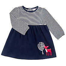 Buy John Lewis Baby's Deer Striped Jersey Dress, Navy Online at johnlewis.com