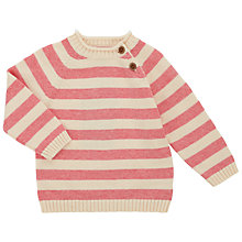 Buy John Lewis Baby's Stripe Jumper, Cream/Pink Online at johnlewis.com