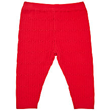 Buy John Lewis Baby's Cable Knit Leggings, Red Online at johnlewis.com