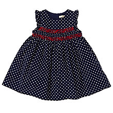 Buy John Lewis Baby's Spotted Cord Pinafore, Navy Online at johnlewis.com