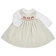 Buy John Lewis Baby Tweed Pinafore and Blouse Set, Cream Online at johnlewis.com