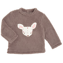 Buy John Lewis Baby's Teddy Borg Deer Jumper, Grey Online at johnlewis.com