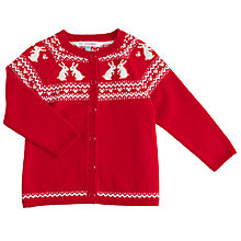 Buy John Lewis Baby Rabbit Fairisle Print Cardigan, Red Online at johnlewis.com