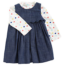 Buy John Lewis Baby's Chambray Pinafore and Polka T-Shirt, Navy Online at johnlewis.com