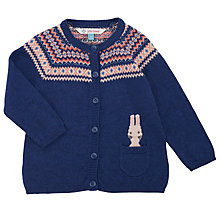 Buy John Lewis Baby's Rabbit Cardigan, Navy Online at johnlewis.com
