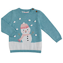 Buy John Lewis Baby 3D Snowman Christmas Jumper, Blue Online at johnlewis.com