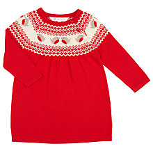 Buy John Lewis Baby Knitted Robin Fairisle Dress, Red Online at johnlewis.com