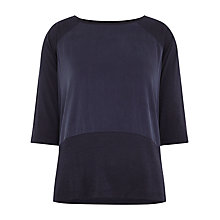 Buy Whistles Contrast Panel Top, Navy Online at johnlewis.com