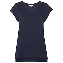 Buy Whistles Faye Marl Seam Step Hem T-shirt, Navy Online at johnlewis.com