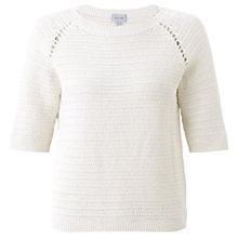 Buy Jigsaw Cotton Crochet Sweater, White Online at johnlewis.com