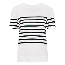 Buy Whistles Placement Stripe Linen T-Shirt, Blue/White Online at johnlewis.com