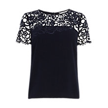 Buy Coast Tamsin Embellished Top, Navy Online at johnlewis.com