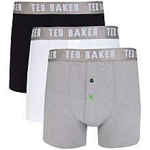 Buy Ted Baker Organic Cotton Button Fly Trunks, Pack of 3, Black/White/Grey Online at johnlewis.com