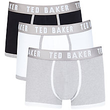 Buy Ted Baker Guavas Plain Trunks, Pack of 3, Black/White/Grey Online at johnlewis.com