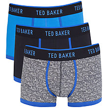 Buy Ted Baker Sulby Print Plain Boxers, Pack of 3, Blue Online at johnlewis.com