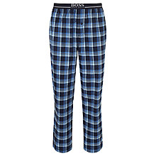 Buy BOSS Cotton Brushed Check Lounge Pants, Blue Online at johnlewis.com