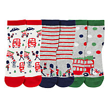 Buy John Lewis Christmas Socks, Pack of 3, Multi Online at johnlewis.com