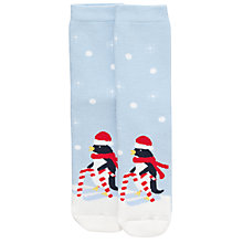 Buy John Lewis Christmas Penguins Slipper Socks, Blue Online at johnlewis.com