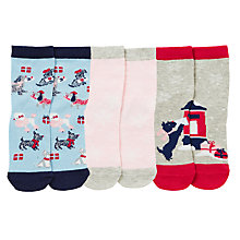 Buy John Lewis Christmas Scottie Dog Socks, Pack of 3, Multi Online at johnlewis.com