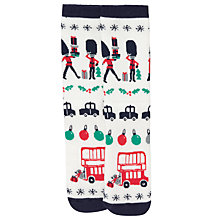 Buy John Lewis Christmas London Slipper Socks, White Online at johnlewis.com