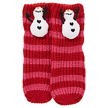 Buy John Lewis Girls' Christmas 3D Snowman Slipper Socks, Red/Pink Online at johnlewis.com