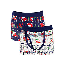 Buy John Lewis Boys' Christmas Trunks, Pack of 2, Navy/White Online at johnlewis.com