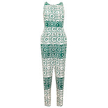 Buy Whistles Mosaic Silk Crossback Jumpsuit, Green Online at johnlewis.com