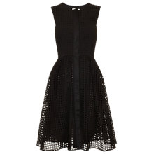 Buy Whistles Lattice Broiderie Lace Cotton Dress, Black Online at johnlewis.com