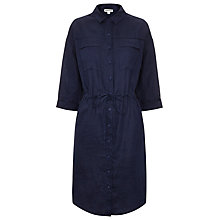 Buy Whistles Linen Paige Shirt Dress, Navy Online at johnlewis.com