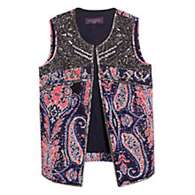 Buy Violeta by Mango Beaded Printed Waistcoat, Navy Online at johnlewis.com