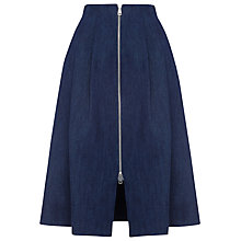 Buy Whistles Zip Through Midi Skirt, Dark Denim Online at johnlewis.com